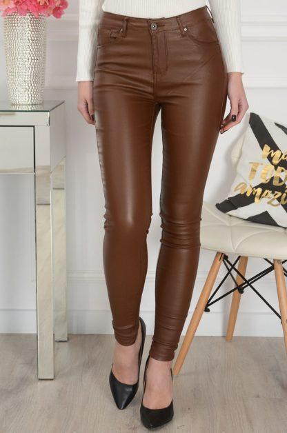 Spodnie rurki woskowane wysoki stan kamel Rozmiar: XS 1