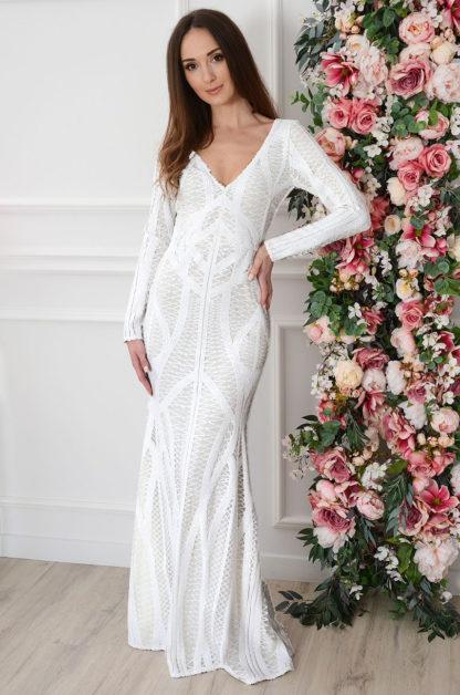 Sukienka maxi wyszywana cekinami biała Izyda Rozmiar: S EMO 1