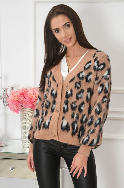 Sweter na guziki w cętki kamel Skriver Rozmiar: UNI 1
