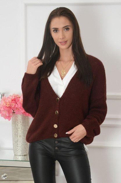 Sweter oversize na guziki dekolt V burgund Tivoli Rozmiar: UNI 1