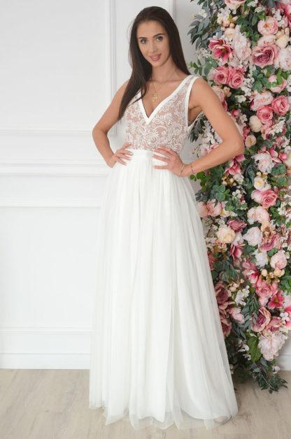 Sukienka maxi z tiulu wyszywana góra biało-beżowa Lydia Rozmiar: XL EMO 1